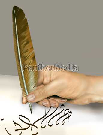 escritura a mano con una pluma