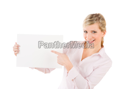 businesswoman pointing aside at white banner