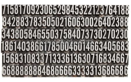 metal tipografico cero numero digito azar