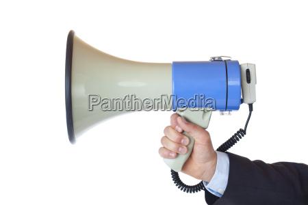 mano comunicacion fuerte megafono anuncio motivacion