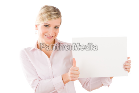 happy businesswoman hold empty banner thumbs