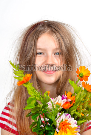 girl flowers colorful
