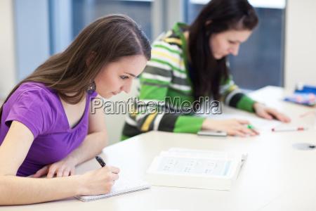dos jovenes universitarios bonitos en una