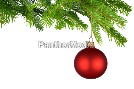 red glowing christmas bauble hanging on