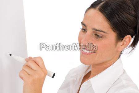 happy businesswoman writing at empty flip