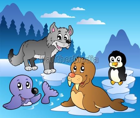 escena del invierno con los varios