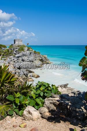 tropical beach with ruins