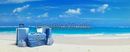 luggage at the beach