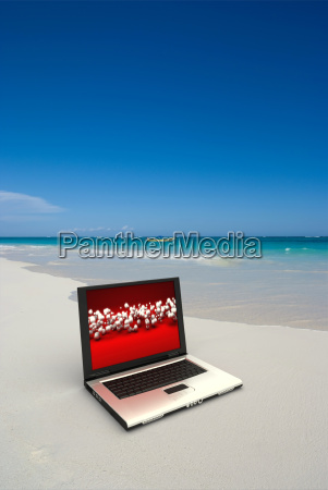 working at the beach