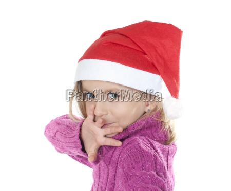 ninya con sombrero de navidad