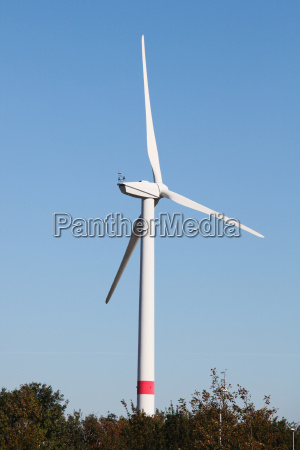 a single wind turbine in front