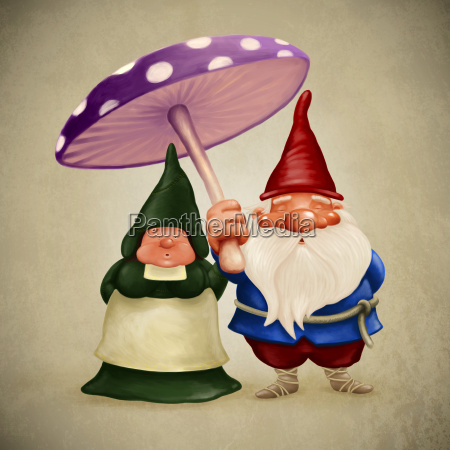fantasia ilustracion hongo dibujos animados duende