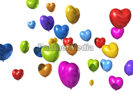 colored heart shaped balloons isolated on