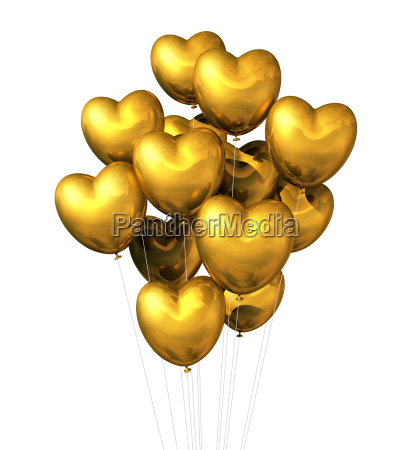 gold heart shaped balloons isolated on