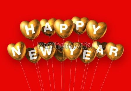 gold happy new year heart shaped