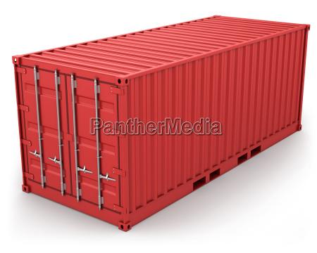 aislado contenedor de carga rojo