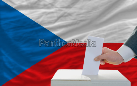 man voting on elections in czech
