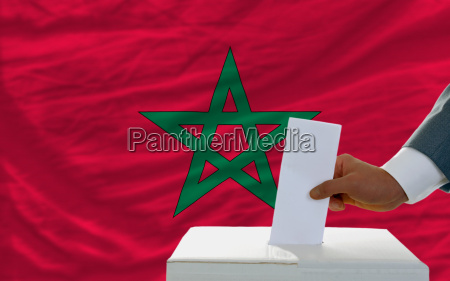 man voting on elections in morocco