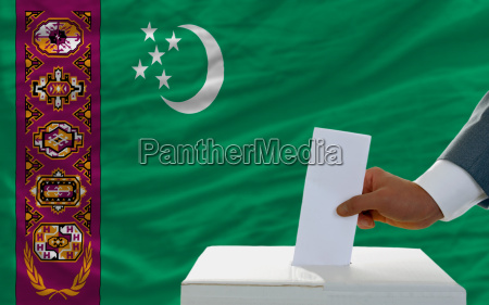man voting on elections in turkmenistan