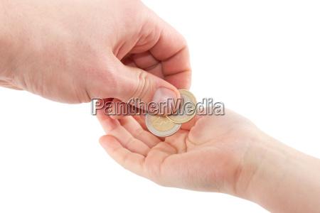 pocket dinero de las monedas de