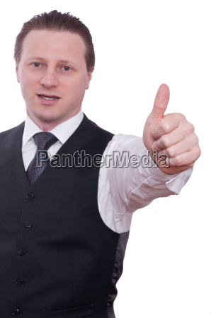 businessman with thumb keeps his thumb
