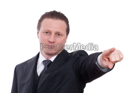 man in suit pointing with pointing