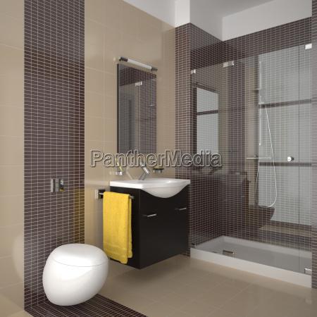 banyo moderno con azulejos beige y