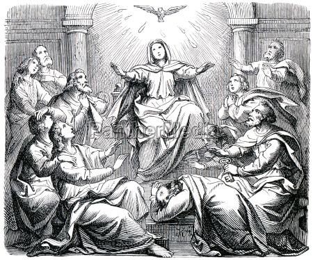 pentecostes grabado viejo