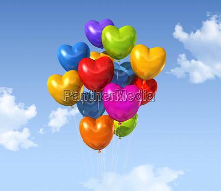 colored heart shape balloons on a