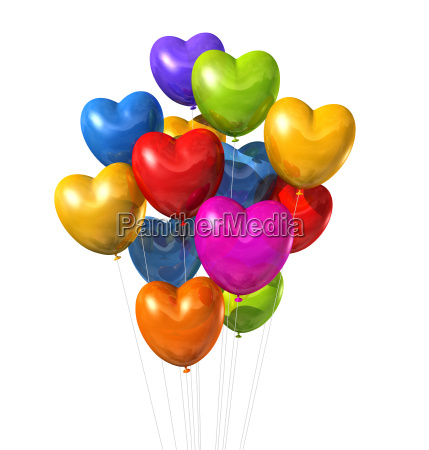 colored heart shape balloons isolated on