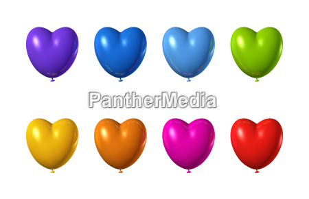 colored heart shape balloons set isolated
