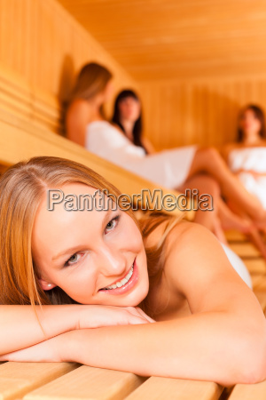 wellness girlfriends in the sauna
