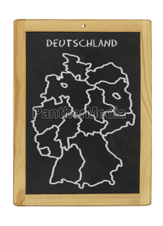 germany map painted with chalk on