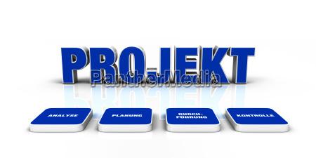 concepto de texto 3d project blue