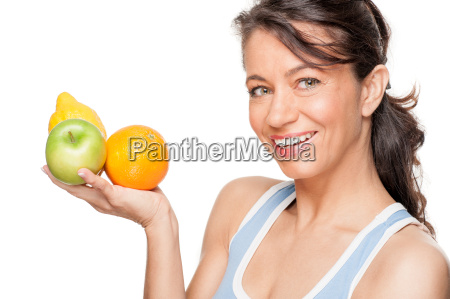 woman with fruit