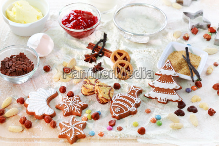 baking ingredients for cookies and gingerbread
