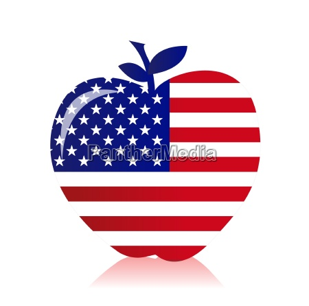 apple with an american flag illustration