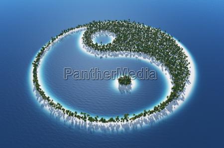 yin and yang island concept