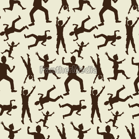 happy boy silhouettes in seamless pattern