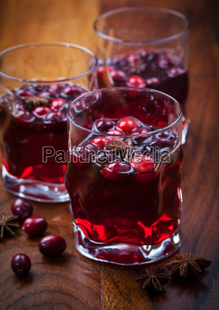 hot drink with cranberries for