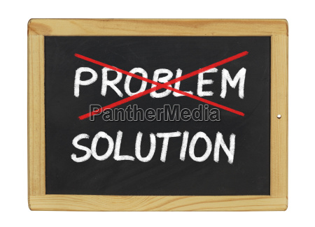 problem and solution written on a