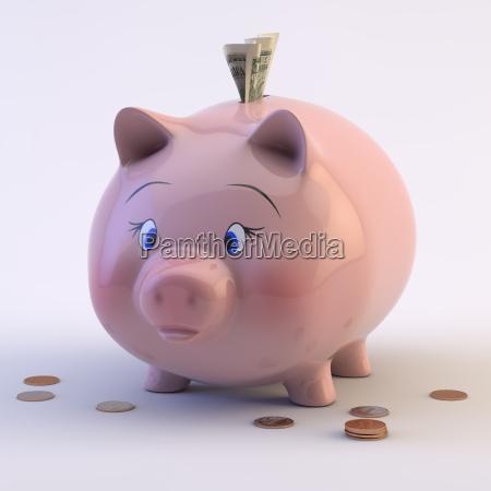 banco de piggy con monedas y