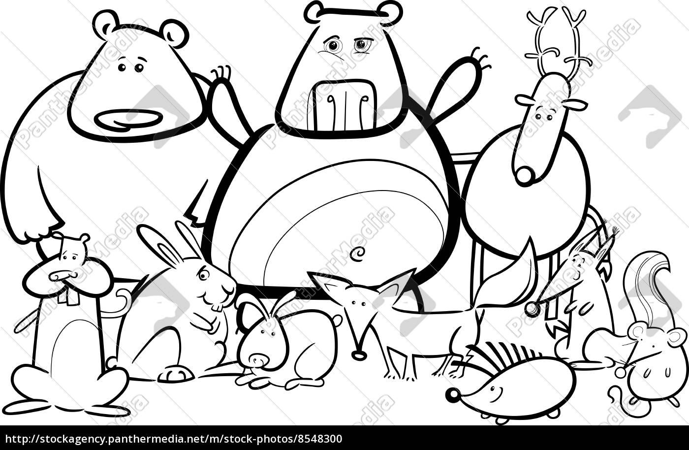 Dibujo Animado Grupo De Animales Salvajes Para Colorear