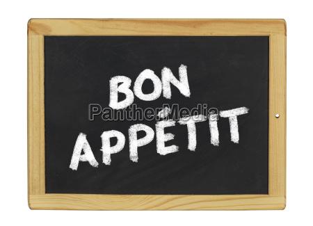 bon appetit on a slate