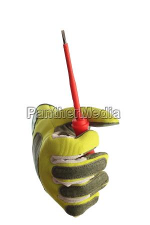screwdriver in hand