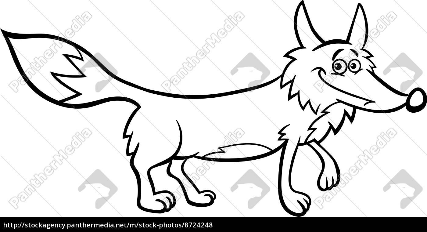 ilustración de dibujos animados de zorro para colorear - Stockphoto ...