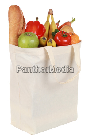 bolsa de compras con frutas y