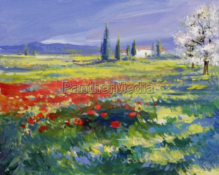 pintura de paisaje de verano