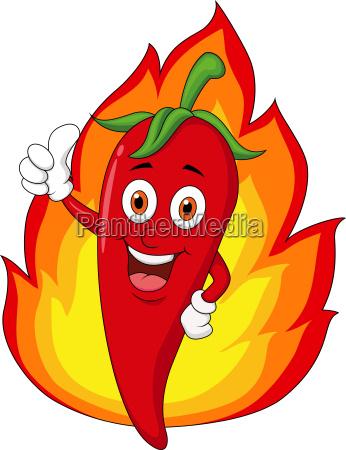 dibujos animados de chili rojo con