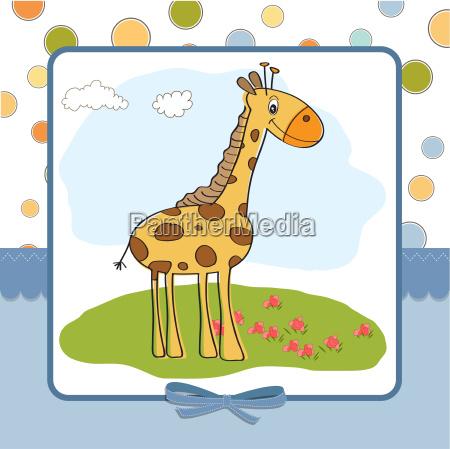 tarjeta de felicitacion con jirafa